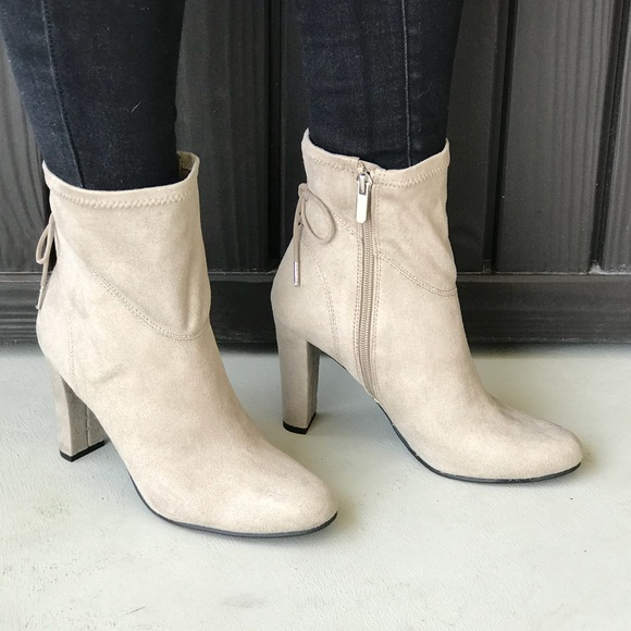 2249f6b5555 Cream Lace Detail Back Chunky Heel Ankle Booties
